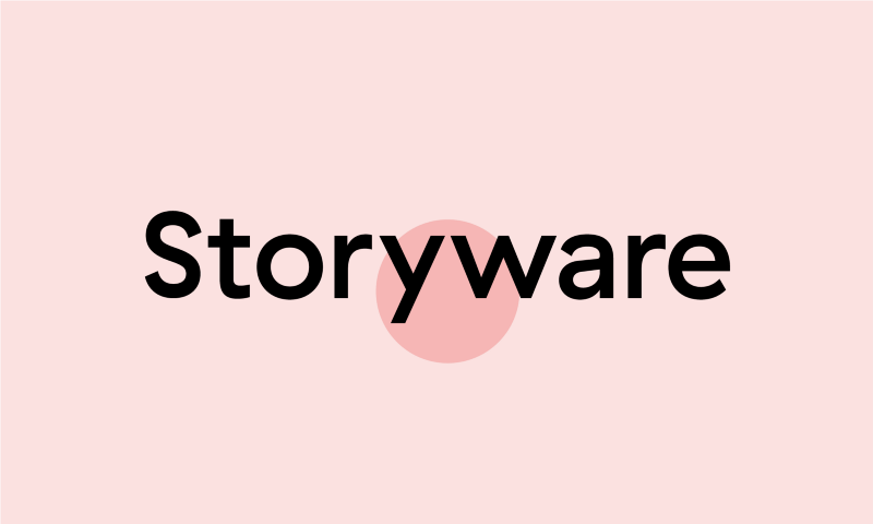 """Storyware"" with red circle highlighting trapped negative space"