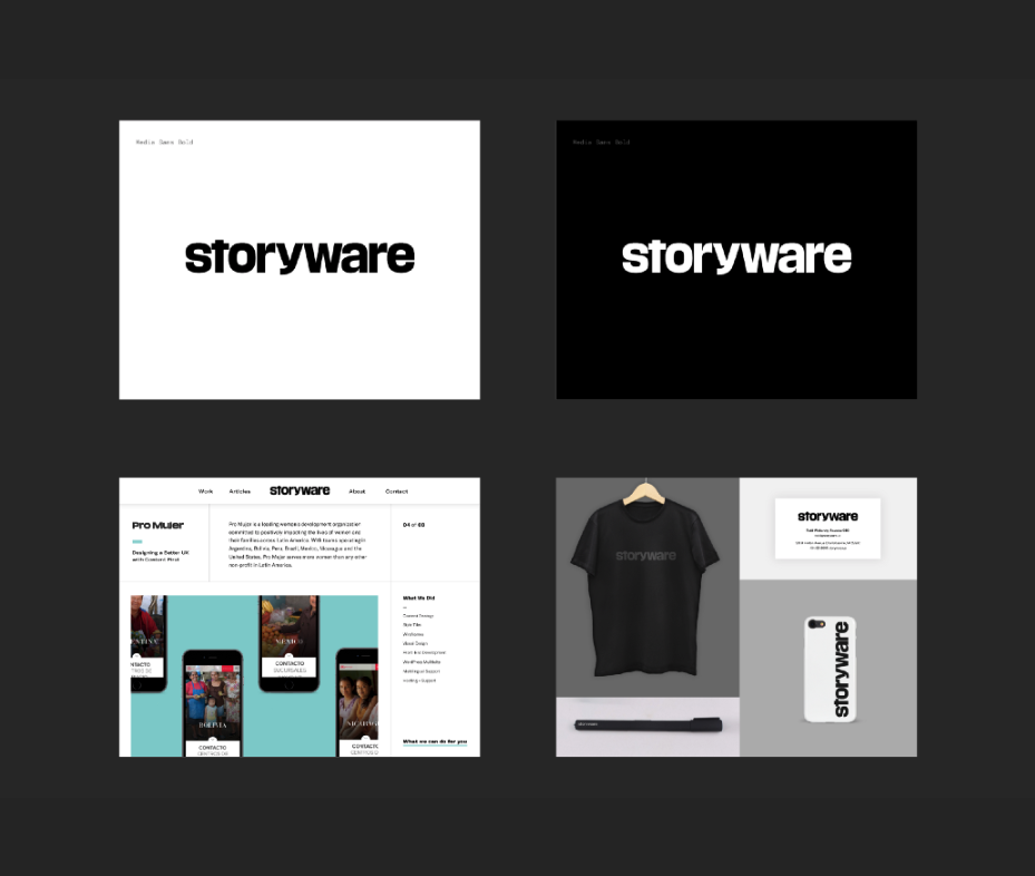 positive and negative wordmark, wordmark in header on case study, on tshirt, business card, pen, and phone case