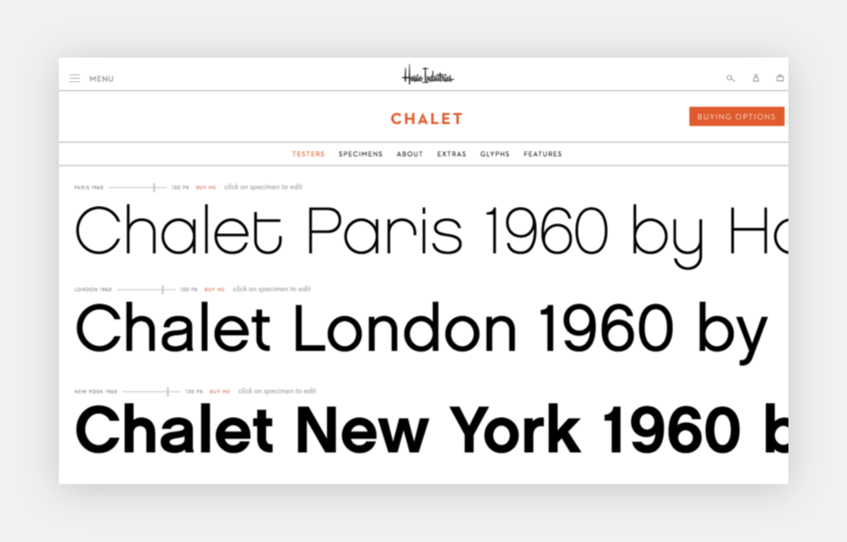 type specimens for Chalet on House Industries website