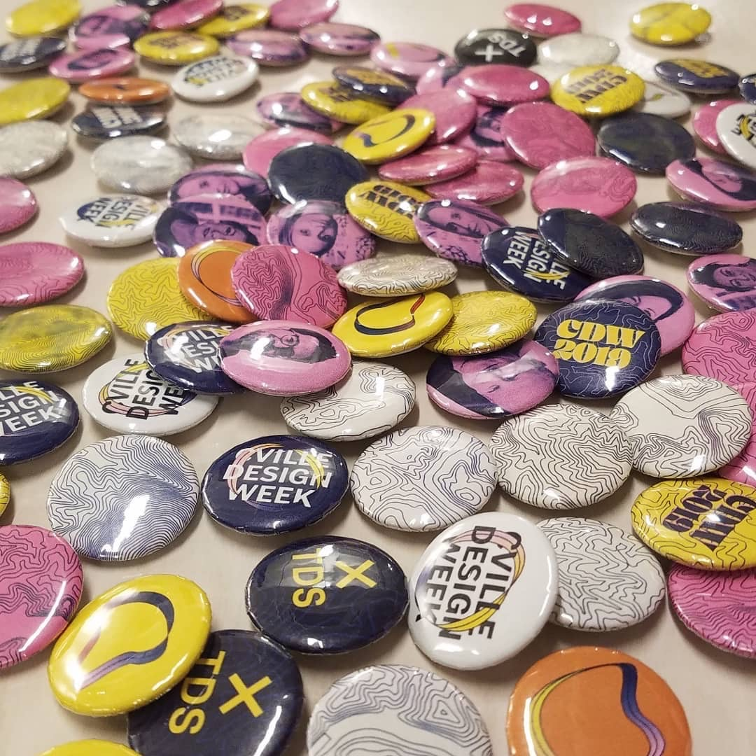 assorted buttons from Charlottesville Design Week