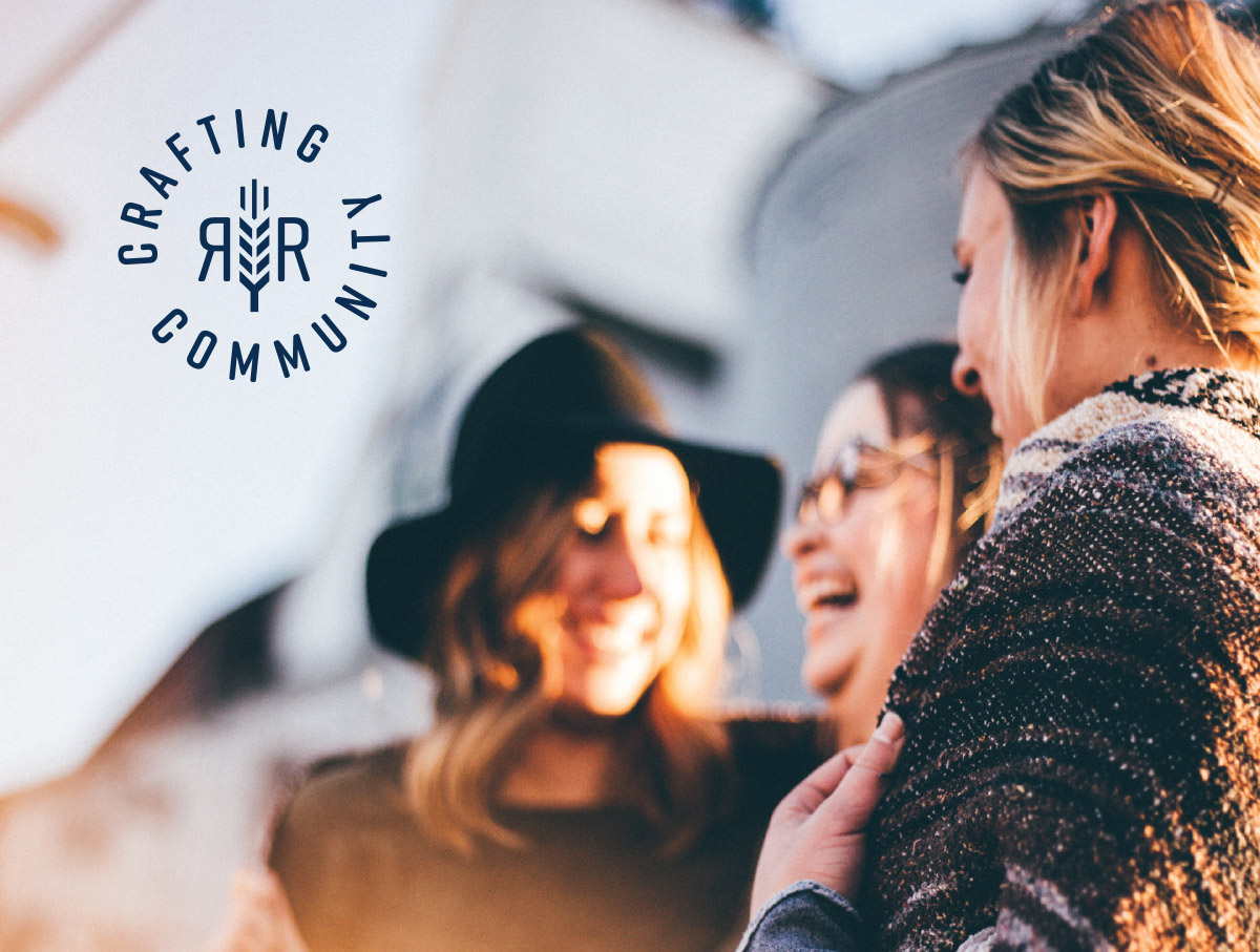 women laughing with Crafting Community circular logo overlaid
