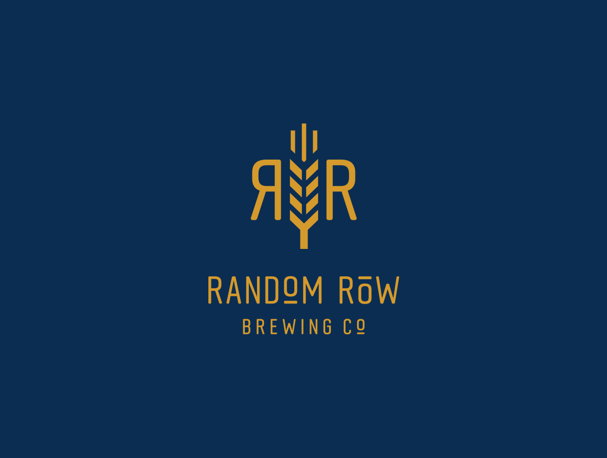 reversed Random Row icon and logo on navy background