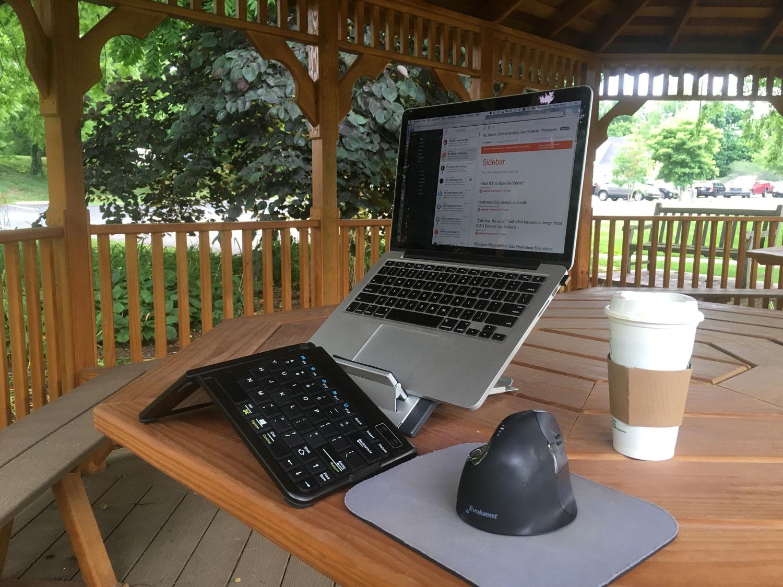 Travel-friendly ergonomic laptop gear