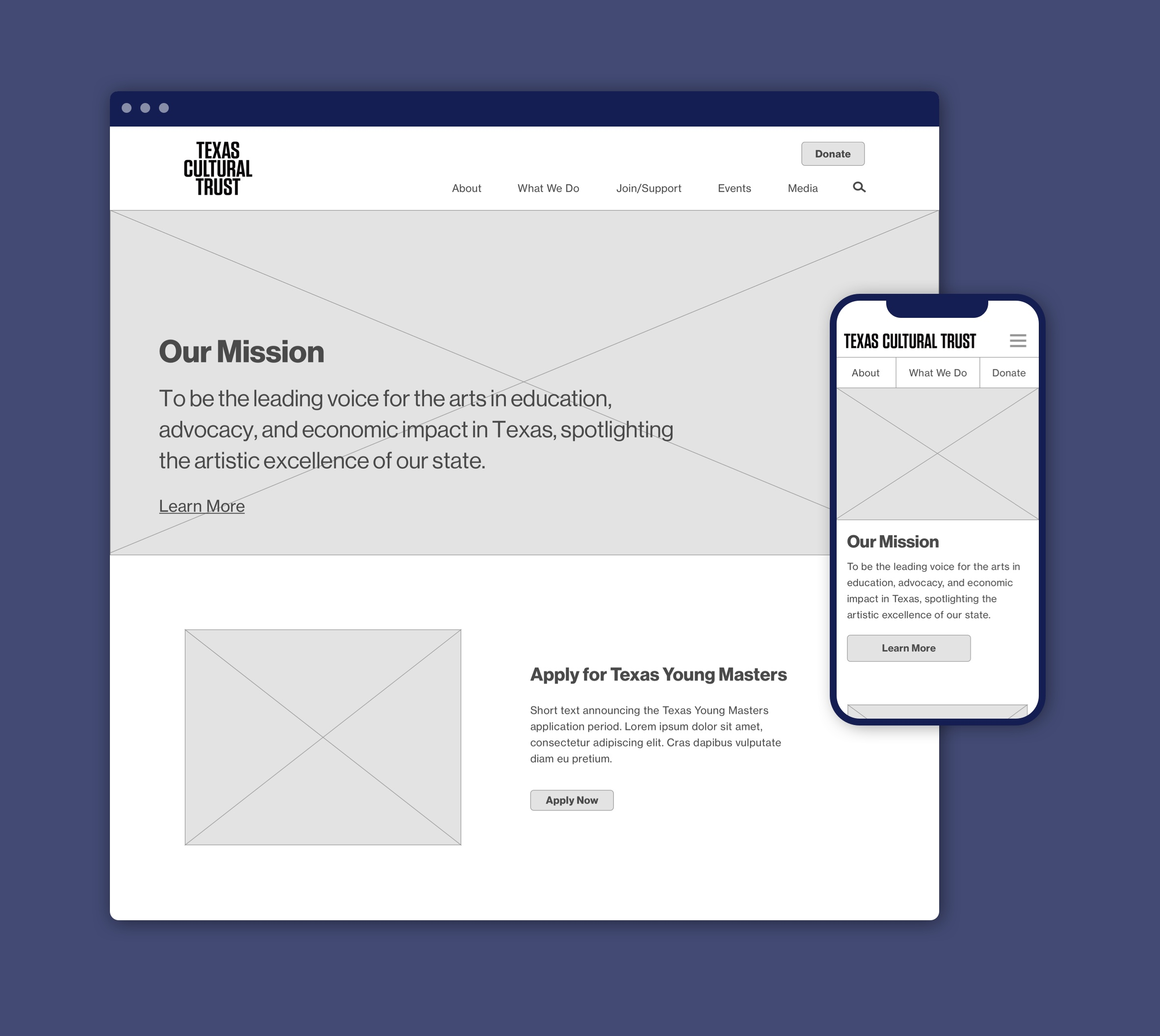 partial desktop and mobile wireframes for the homepage